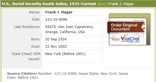 Information concerning Frank Joseph Hagar from Social Security Death Index.