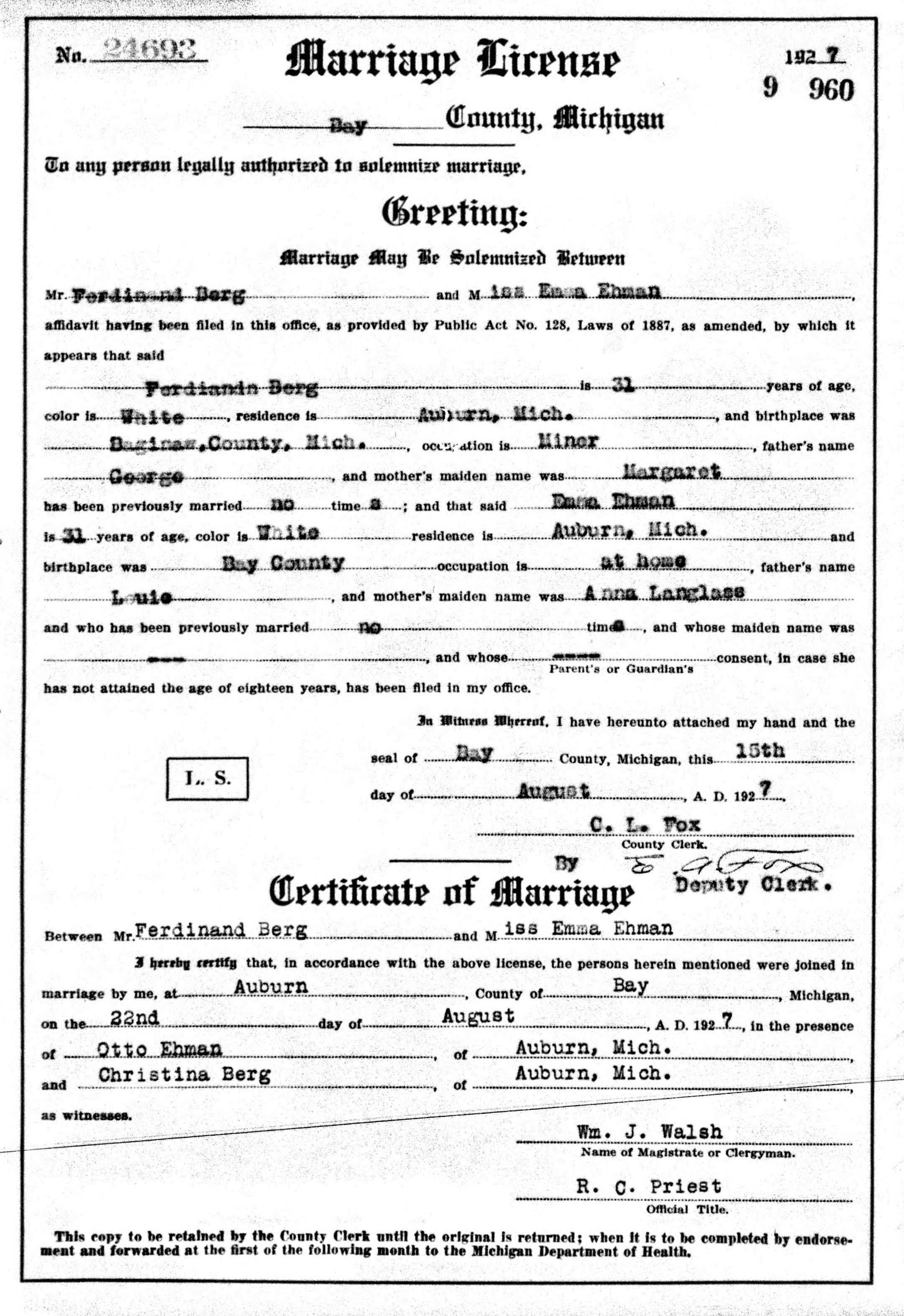 Marriage License for Ferdinand Berg and Emma Ehmann