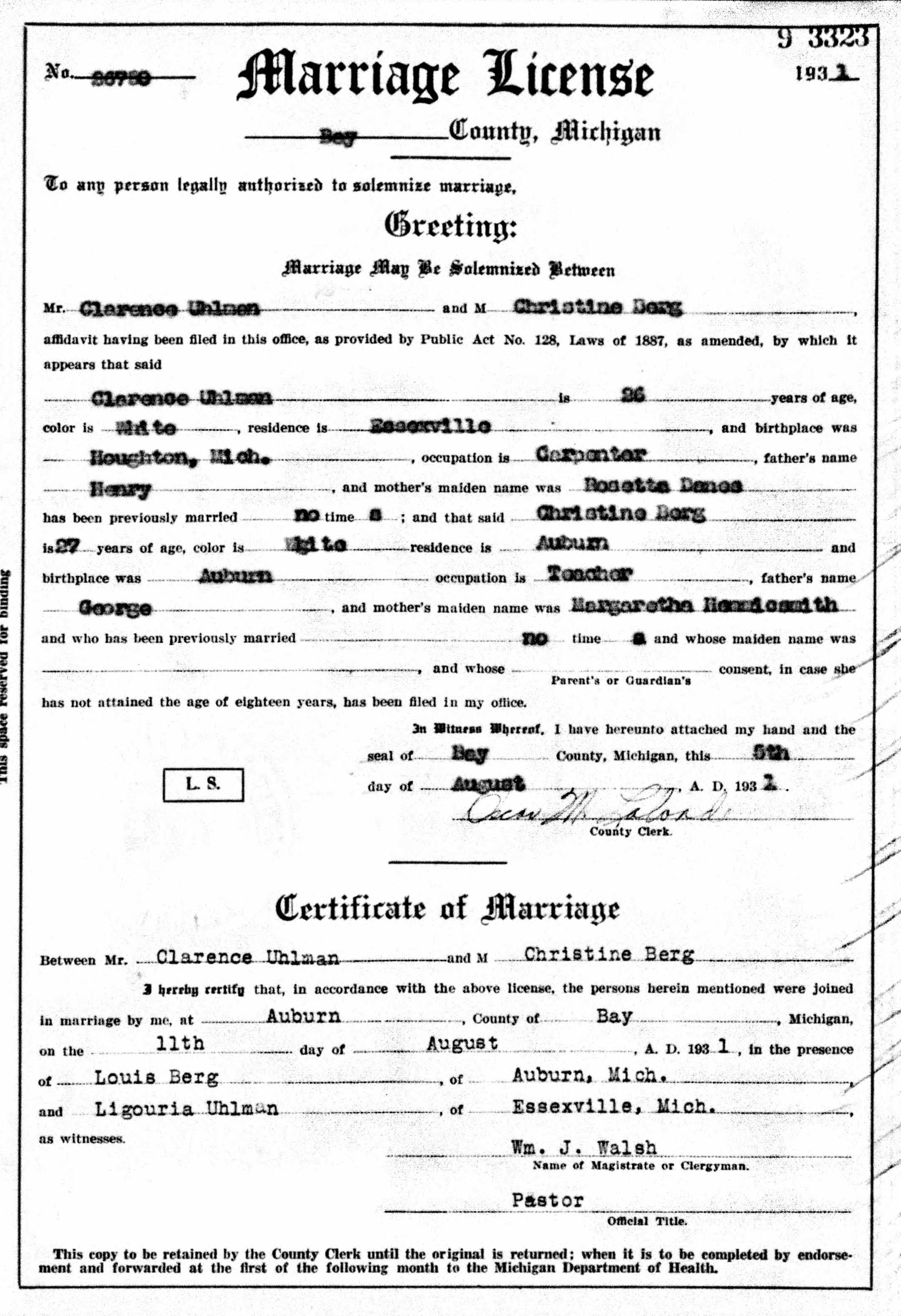 Marriage License for Clarence Uhlmann and Christine Mary Berg.