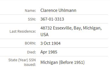 Social Security information concerning Clarence Uhlmann.