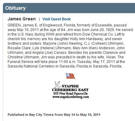 Obituary for James Green published in the Bay City Times.