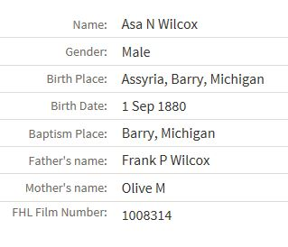 Birth information for Asa N. Wilcox.