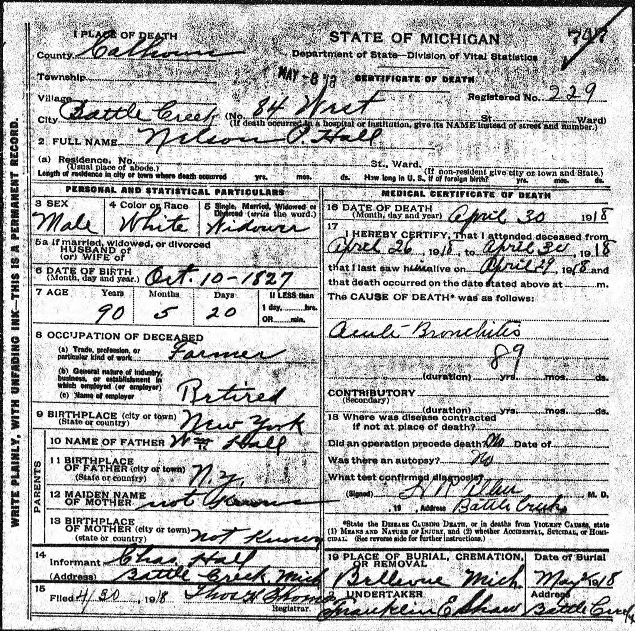 Death Certificate for Nelson P. Hall.