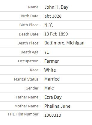 Death information for John Henry Day.