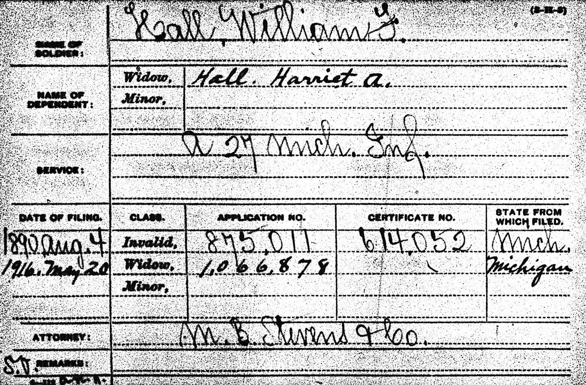 Pension record for William Hall.