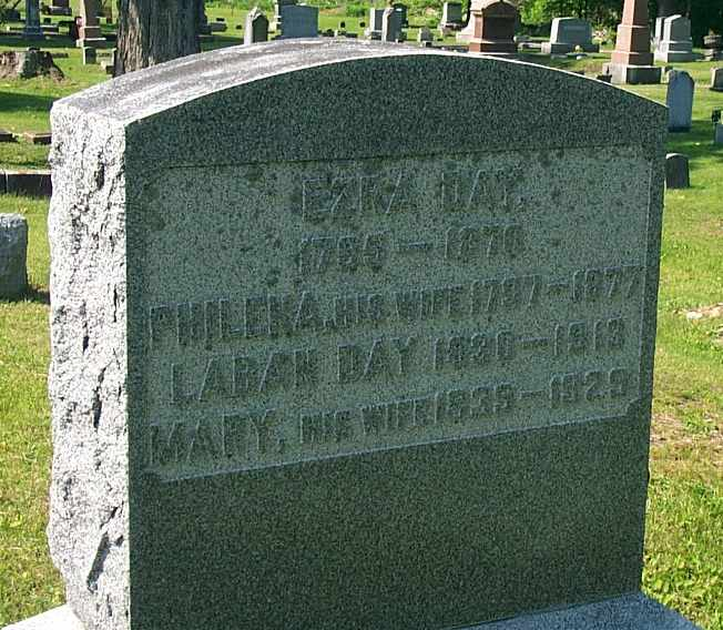 Grave of Ezra Day, Philena June, Laban Day, and Mary Johnson.