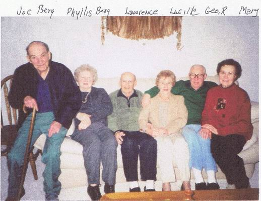 Photograph of Joseph Berg, Phyllis Kehrer, Lawrence Berg, Lucille Berg, George R. Berg, and Mary Lukowski.