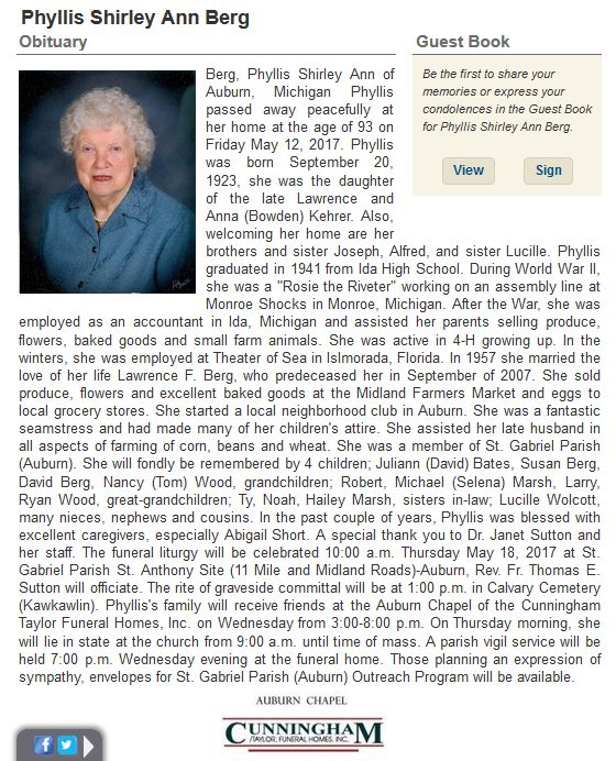 Obituary for Phyllis Kehrer.